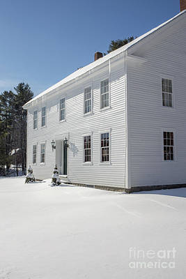 White Frame House Photograph - New England Colonial Home In Winter by Edward Fielding