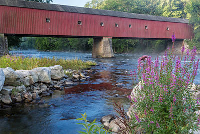 Photograph - New England Covered Bridge Connecticut by Bill Wakeley