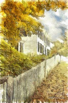 New England Fall Foliage Pencil Art Print