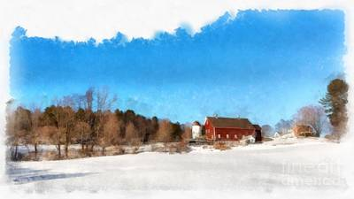 Painting - New England Farm Winter South Woodstock Vermont by Edward Fielding