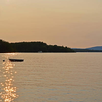 Photograph - New England Four Seasons Summer Lake Winnipesaukee Sunset Row Boat by Toby McGuire