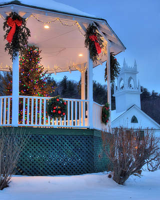 Photograph - New England Gazebo And White Church In Winter - Washington Nh by Joann Vitali