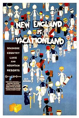 Royalty-Free and Rights-Managed Images - New England is Vacationland - Seashore, Country, Lake and Mountain Resorts - Retro Travel Poster by Studio Grafiikka