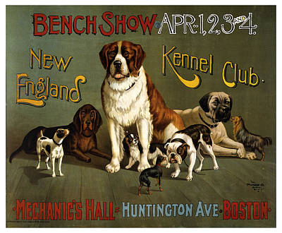 Mixed Media - New England Kennel Club - Bench Show - Vintage Advertising Poster by Studio Grafiikka