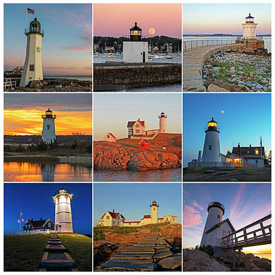 Photograph - New England Lighthouse Collage by Toby McGuire