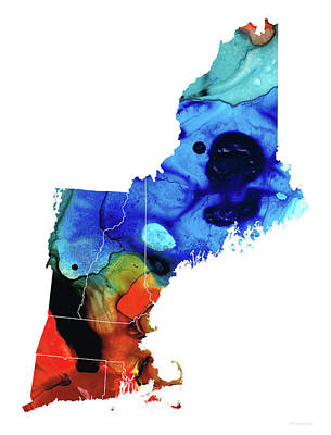 New England - Map By Sharon Cummings Art Print by Sharon Cummings
