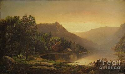 William Sonntag Painting - New England Mountain Lake At Sunrise by MotionAge Designs