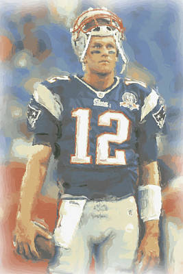 Football Stadium Photograph - New England Patriots Tom Brady by Joe Hamilton