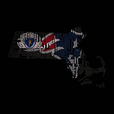 New England Patriots Typographic Map 03 Art Print by Brian Reaves