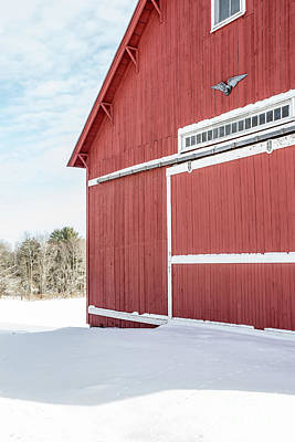 Photograph - New England Red Barn Winter Landscape by Edward Fielding