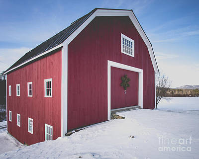 New England Red Barn Winter Orford Art Print by Edward Fielding