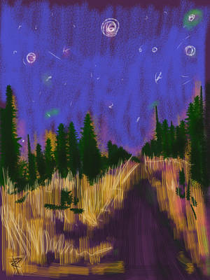 Maine Landscape Mixed Media - New England Starry Night by Russell Pierce
