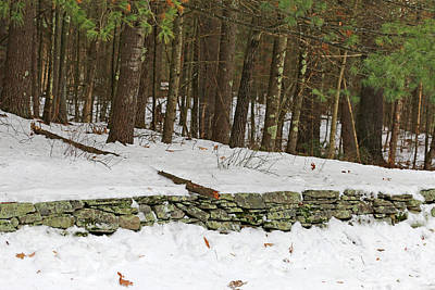 Photograph - New England Stone Fence And Snow by Mary Bedy
