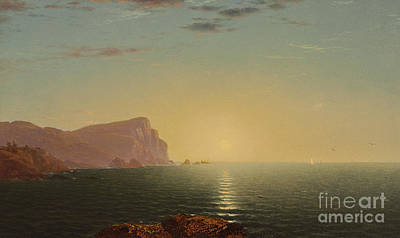 Reflecting Water Painting - New England Sunrise by John Frederick Kensett