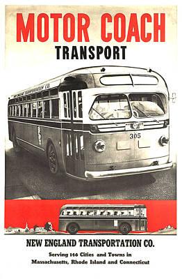 Mixed Media - New England Transportation Co - Vintage Travel Poster by Studio Grafiikka