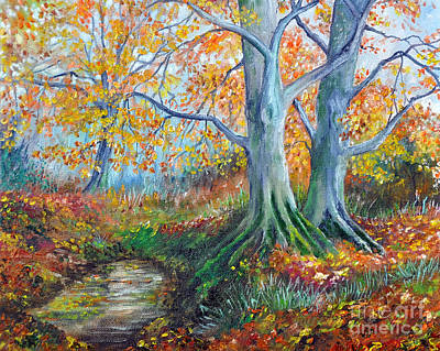 New Hampshire Artist Painting - New Forest Autumn by Paul Cummings