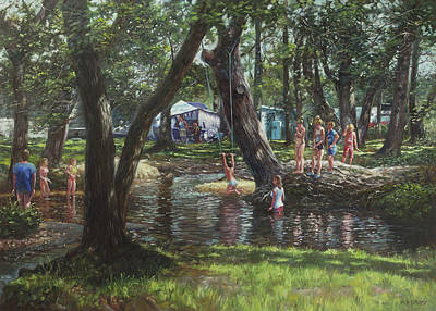 Child Swinging Painting - New Forest Camping Fun by Martin Davey