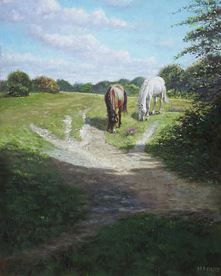 Painting - New Forest Horses With Light And Shade  by Martin Davey