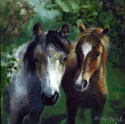 Painting - New Forest ponies by Kathryn Dalziel