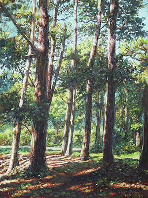 Painting - New Forest Trees With Shadows by Martin Davey