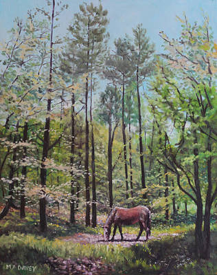 Painting - New Forest With Horse In Light  by Martin Davey