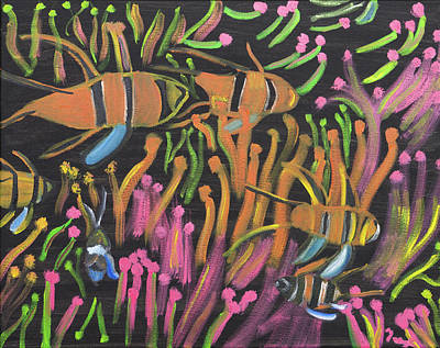 Painting - Coral Camoflauge by Meryl Goudey
