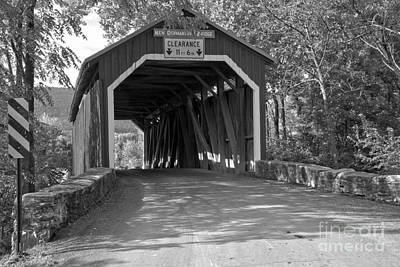 Photograph - New Germantown Covered Bridge Black And White by Adam Jewell