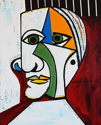 Painting - New Green Eyes Picasso Style by Nora Shepley