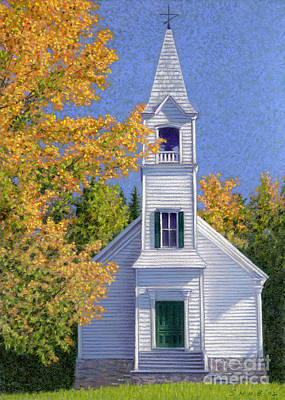 Pastel - New Hampshire Church by Stephen Shub