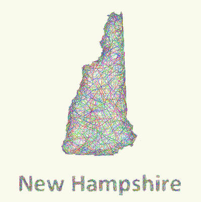 New Hampshire Drawing - New Hampshire Line Art Map by David Zydd