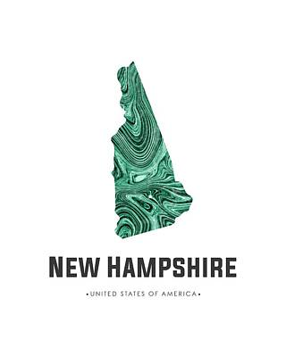 Mixed Media - New Hampshire Map Art Abstract In Blue Green by Studio Grafiikka