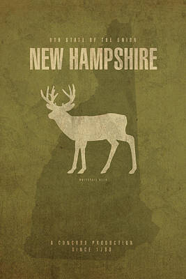 Concord Mixed Media - New Hampshire State Facts Minimalist Movie Poster Art by Design Turnpike