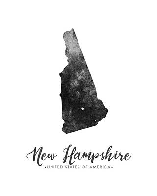 Geography Mixed Media - New Hampshire State Map Art - Grunge Silhouette by Studio Grafiikka
