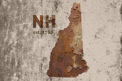 Cement Mixed Media - New Hampshire State Map Industrial Rusted Metal On Cement Wall With Founding Date Series 049 by Design Turnpike