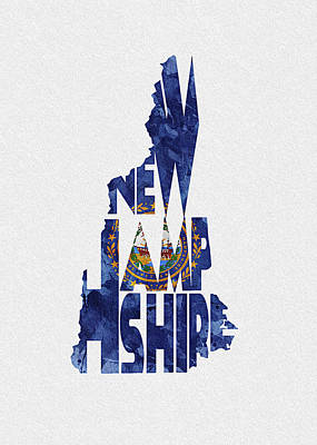 Digital Art - New Hampshire Typographic Map Flag by Inspirowl Design