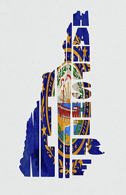 Concord Mixed Media - New Hampshire Typography Map Flag by Kevin O'Hare