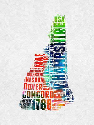 Us State Map Digital Art - New Hampshire Watercolor Word Map by Naxart Studio