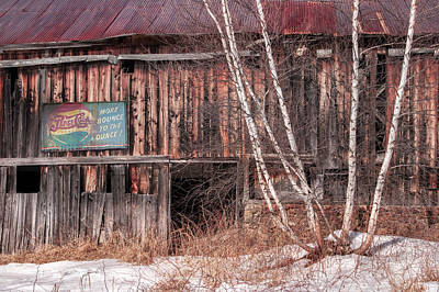 Photograph - Vintage Winter Barn by Expressive Landscapes Fine Art Photography by Thom