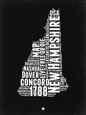 New Hampshire Digital Art - New Hampshire Word Cloud Black And White Map by Naxart Studio