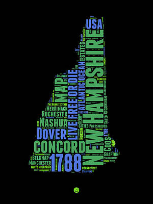 New Hampshire Word Cloud Map 1 Art Print by Naxart Studio