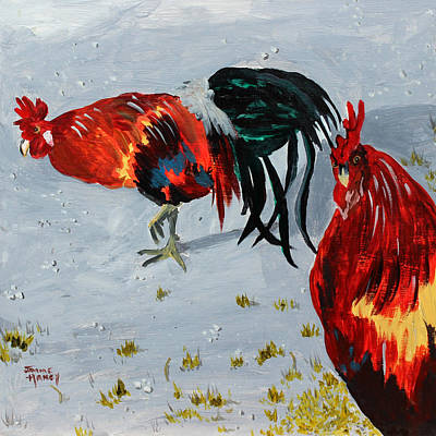 Painting - New Harmony Roosters by Jaime Haney