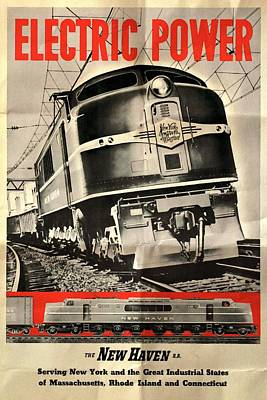 Mixed Media - New Haven Electric Power Train - Folded by Vintage Advertising Posters