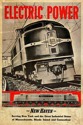Mixed Media - New Haven Electric Power Train - Vintagelized by Vintage Advertising Posters