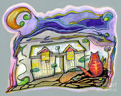 Orange Tabby Drawing - New Home by Joy Calonico