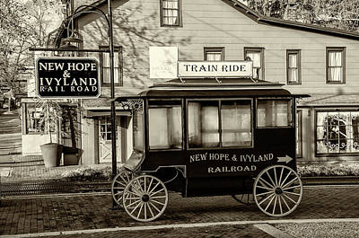 New Hope And Ivyland Railroad - Bucks County Pa In Sepia Print by Bill Cannon