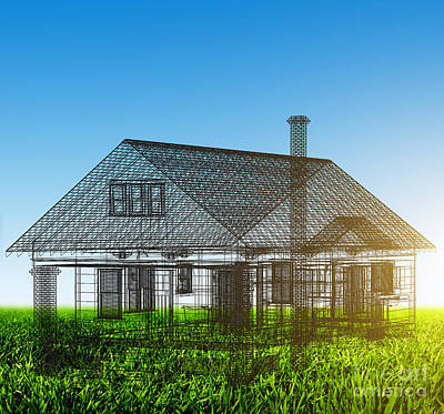 Vision Photograph - New House Wireframe Project On Green Field by Michal Bednarek