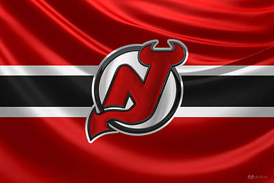 Digital Art - New Jersey Devils - 3 D Badge Over Silk Flag by Serge Averbukh