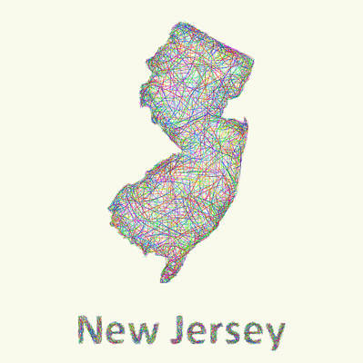 New Jersey Drawing - New Jersey Line Art Map by David Zydd