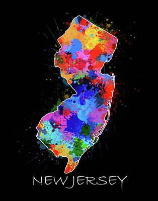 New Jersey Map Digital Art - New Jersey Map Color Splatter 2 by Bekim Art