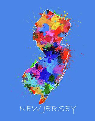 New Jersey Map Digital Art - New Jersey Map Color Splatter 3 by Bekim Art